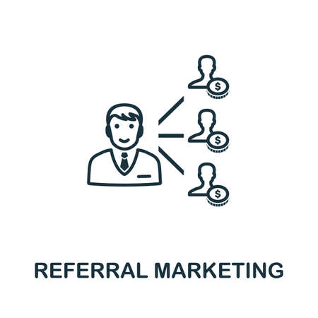 Referral Marketing icon outline style. Thin line creative Referral Marketing icon