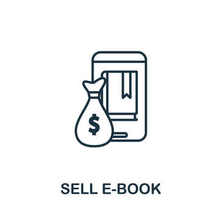 Sell E-Book icon outline style. Thin line creative Sell E-Book icon for   graphic design and more.