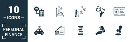 Personal Finance icon set. Include creative elements personal income, personal loan, budgeting, online banking, digital wallet icons. Can be used for report, presentation, diagram, web design.