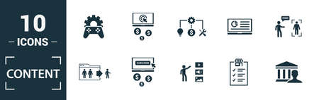Content icon set. Include creative elements cost per click, crowdsourcing, curation, exit rate, gamification icons. Can be used for report, presentation, diagram, web design. 向量圖像