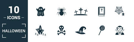 Halloween icon set. Include creative elements skeleton, coffin, skull, bats, vampire icons. Can be used for report, presentation, diagram, web design.