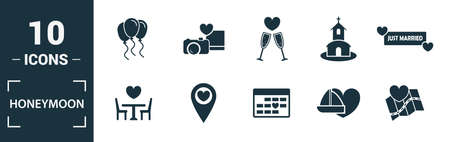 Honeymoon icon set. Include creative elements travel, just married, dinner, boar trip, cake icons. Can be used for report, presentation, diagram, web design.