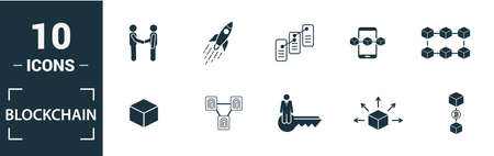 Blockchain icon set. Include creative elements block, distribution, confirmation, anonymity, protocol icons. Can be used for report, presentation, diagram, web design.