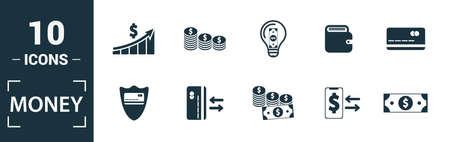 Money icon set. Include creative elements money notes, coins, money graphic up, wallet charge, money time icons. Can be used for report, presentation, diagram, web design.