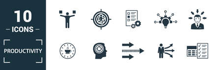 Productivity icon set. Include creative elements skill, time management, coffee break, work plan, daily tasks icons. Can be used for report, presentation, diagram, web design. Illustration