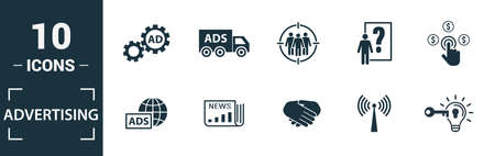 Advertising icon set. Include creative elements focus group, marketing monitoring, affiliate marketing, tv, global advertising icons. Can be used for report, presentation, diagram, web design.
