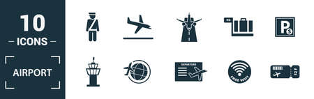 Airport icon set. Include creative elements takeoff, around the world, airport tower, airplane seat, taxi icons. Can be used for report, presentation, diagram, web design. Ilustracja