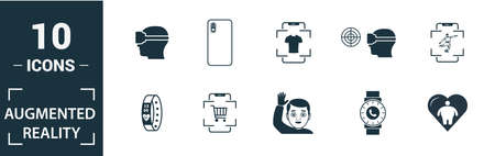 Ar And Vr icon set. Include creative elements augmented reality, 360 view, face recognition, augmented reality glasses, shopping icons. Can be used for report, presentation, diagram, web design.