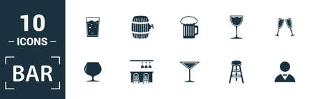 Bar - Restaurant icon set. Include creative elements glass, beer, bartender, shaker, menu icons. Can be used for report, presentation, diagram, web design. Ilustracja