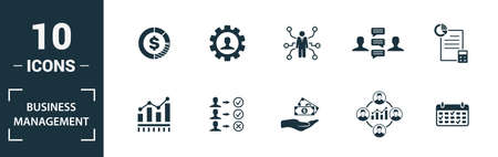 Business Management icon set. Include creative elements expert opinion, budget balance, sponsor, discussion, key event icons. Can be used for report, presentation, diagram, web design.