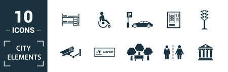 City Elements icon set. Include creative elements restroom sign, public park, bicycle parking, hostel, playground icons. Can be used for report, presentation, diagram, web design. 版權商用圖片 - 134810005