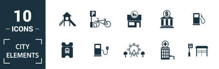 City Elements icon set. Include creative elements restroom sign, public park, bicycle parking, hostel, playground icons. Can be used for report, presentation, diagram, web design.
