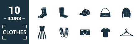 Clothes icon set. Include creative elements t-shirt, jacket, pants, socks, shoes icons. Can be used for report, presentation, diagram, web design. Vektoros illusztráció