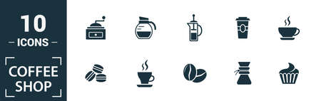 Coffee Shop icon set. Include creative elements coffee beans, cappuccino, coffee machine, coffee to go, ice coffee icons. Can be used for report, presentation, diagram, web design.