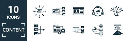 Content icon set. Include creative elements cms, content plan, digital content, viral marketing, media plan icons. Can be used for report, presentation, diagram, web design. Ilustracja