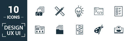 Ui icon set. Include creative elements search, done, thumb up, zoom out, volume up icons. Can be used for report, presentation, diagram, web design. 版權商用圖片 - 134810282