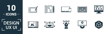 Ui icon set. Include creative elements search, done, thumb up, zoom out, volume up icons. Can be used for report, presentation, diagram, web design.