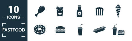 Fastfood icon set. Include creative elements burger, drink with a straw, donuts, chicken leg, delivery icons. Can be used for report, presentation, diagram, web design. 版權商用圖片 - 134810284