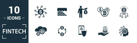 Fintech icon set. Include creative elements online banking, direct payment, fintech, cryptocurrency, fintech industry icons. Can be used for report, presentation, diagram, web design. 向量圖像