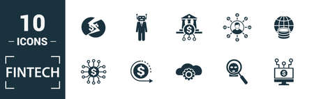 Fintech icon set. Include creative elements online banking, direct payment, fintech, cryptocurrency, fintech industry icons. Can be used for report, presentation, diagram, web design. Ilustracja