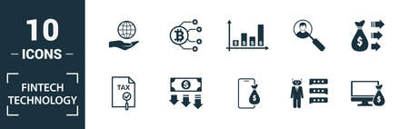 Fintech Technology icon set. Include creative elements basic income, bitcoin technology, online loan, kyc, business model icons. Can be used for report, presentation, diagram, web design. 版權商用圖片 - 134810292