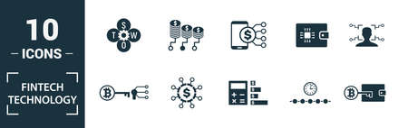 Fintech Technology icon set. Include creative elements basic income, bitcoin technology, online loan, kyc, business model icons. Can be used for report, presentation, diagram, web design. 版權商用圖片 - 134810310
