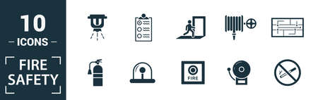Fire Safety icon set. Include creative elements smoke detector, fire hose, report, no fire, fire sprinkler icons. Can be used for report, presentation, diagram, web design. 版權商用圖片 - 134810311