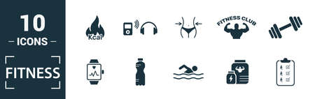 Fitness icon set. Include creative elements pool swimming, calories burn, water, junk food, recovery icons. Can be used for report, presentation, diagram, web design. 版權商用圖片 - 134810313