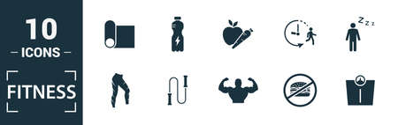 Fitness icon set. Include creative elements pool swimming, calories burn, water, junk food, recovery icons. Can be used for report, presentation, diagram, web design. 版權商用圖片 - 134810319