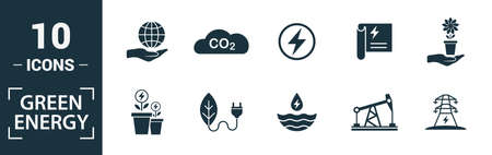 Power And Energy icon set. Include creative elements green energy, solar energy, biomass, energy development, saving icons. Can be used for report, presentation, diagram, web design.