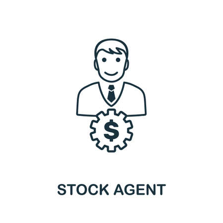Stock Agent icon outline style. Thin line creative Stock Agent icon for logo, graphic design and more. 일러스트