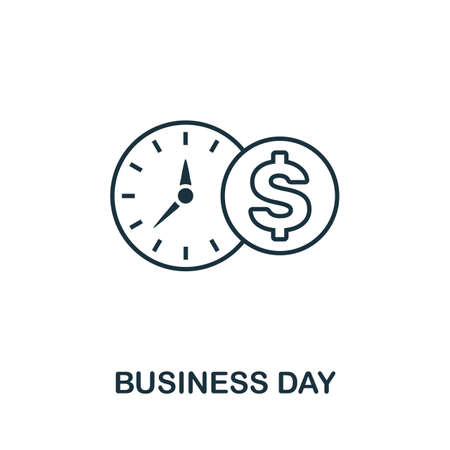 Business Day icon outline style. Thin line creative Business Day icon