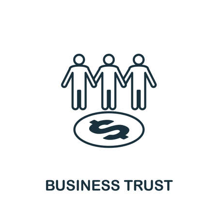 Business Trust icon outline style. Thin line creative Business Trust icon Çizim
