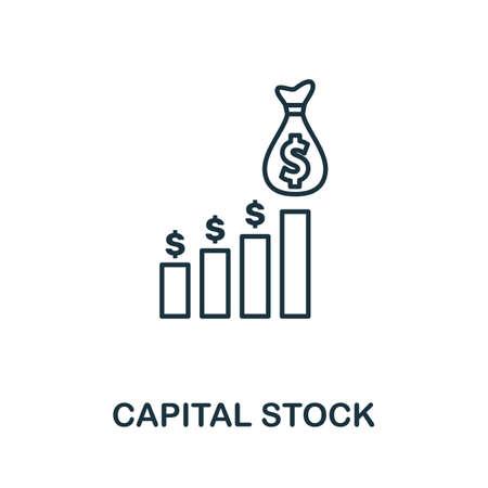 Capital Stock icon outline style. Thin line creative Capital Stock icon Çizim