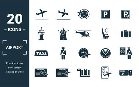 Airport icon set. Include creative elements takeoff, around the world, airport tower, airplane seat, taxi icons. Can be used for report, presentation, diagram, web design. Ilustrace