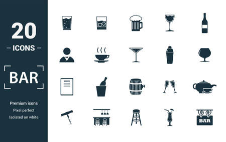 Bar - Restorant icon set. Include creative elements glass, beer, bartender, shaker, menu icons. Can be used for report, presentation, diagram, web design.