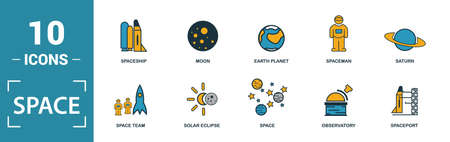 Space icon set. Include creative elements earth planet, stars, spaceship, spacemen, telescope icons. Can be used for report, presentation, diagram, web design. Ilustrace