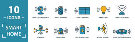 Smart Home icon set. Include creative elements digital assistant, robot vacuum cleaner, smart video control, smart light, home hub icons. Can be used for report, presentation, diagram, web design.
