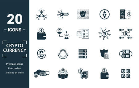 Crypto Currency icon set. Include creative elements decentralized, encrypted, ethereum wallet, node, halving icons. Can be used for report, presentation, diagram, web design.