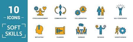 Conjunto de iconos de habilidades blandas. Incluya elementos creativos, espíritu de equipo, personalidad, autopromoción, motivación, iconos de negociación. Se puede utilizar para informes, presentaciones, diagramas, diseño web. Ilustración de vector
