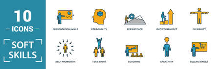 Soft Skills icon set. Include creative elements team spirit, personality, self-promotion, motivating, negotiation icons. Can be used for report, presentation, diagram, web design.  イラスト・ベクター素材