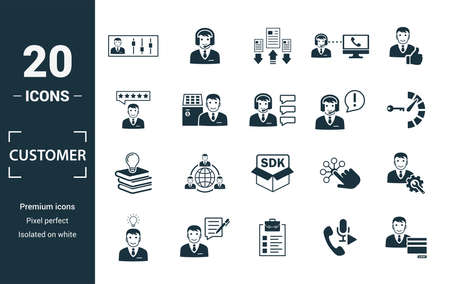 Jeu d'icônes de service client. Incluez la console de l'agent des éléments créatifs, la priorité du dossier, la satisfaction, le service d'assistance et les icônes de la base de connaissances. Peut être utilisé pour le rapport, la présentation, le diagramme, la conception Web.