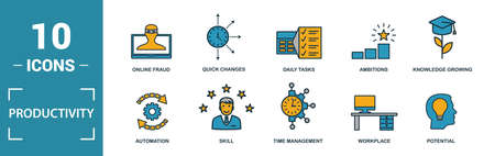 Productivity icon set. Include creative elements skill, time management, coffee break, work plan, daily tasks icons. Can be used for report, presentation, diagram, web design.  イラスト・ベクター素材