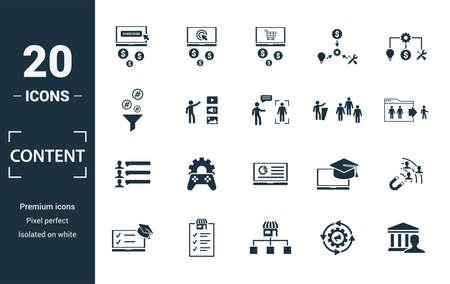 Jeu d'icônes de contenu. Incluez les éléments créatifs coût par clic, crowdsourcing, curation, taux de sortie, icônes de gamification. Peut être utilisé pour le rapport, la présentation, le diagramme, la conception Web.