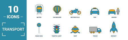 Transport icon set. Include creative elements car, motorcycle, bicycle, troleibus, taxi icons. Can be used for report, presentation, diagram, web design.