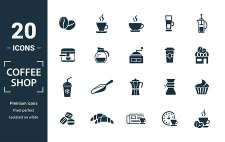 Coffe Shop icon set. Include creative elements coffee beans, cappuccino, coffee machine, coffee to go, ice coffee icons. Can be used for report, presentation, diagram, web design.  イラスト・ベクター素材
