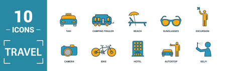 Travel icon set. Include creative elements compass, aircraft, taxi, credit card, sun and mountains icons. Can be used for report, presentation, diagram, web design.