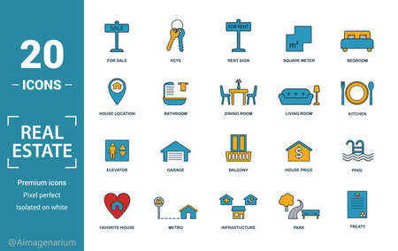 Real Estate icon set. Include creative elements for sale, rent sign, house location, living room, elevator icons. Can be used for report, presentation, diagram, web design. Stock fotó - 133966927
