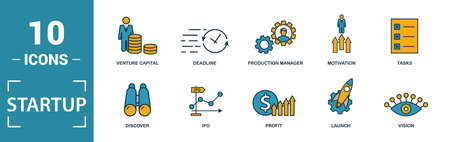 Startup icon set. Include creative elements goal, business plan, prototype, business incubator, vision icons. Can be used for report, presentation, diagram, web design. 일러스트