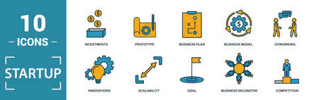 Startup icon set. Include creative elements goal, business plan, prototype, business incubator, vision icons. Can be used for report, presentation, diagram, web design.  イラスト・ベクター素材